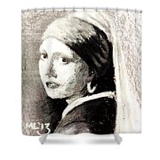 Girl With A Pearl Earring By Jan Vermeer Van Delft Shower Curtain