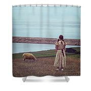 Girl With A Sheep Shower Curtain by Joana Kruse
