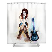 Girl With Blue Guitar Shower Curtain