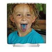 Girl With Blue Tongue Shower Curtain