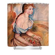Girl With Dasies Shower Curtain