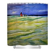 Girl With Dog On The Beach Shower Curtain