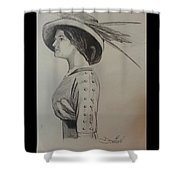 Girl With Feathered Hat Shower Curtain