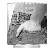 Girl With Hand In Back Pocket Shower Curtain