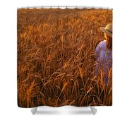 Girl With Hat In Field Shower Curtain