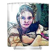 Girl With Her Black Cat Shower Curtain