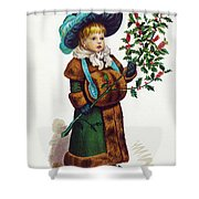 Girl With Holly Shower Curtain