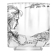 Girl With Laptop  Shower Curtain