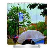 Girl With Large Umbrella Its Raining Its Pouring April Showers Montreal Scenes Carole Spandau Art Shower Curtain