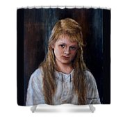 Girl With Long Brown Hair Shower Curtain