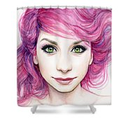 Girl With Magenta Hair Shower Curtain