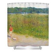 Girl Walking Dog Shower Curtain