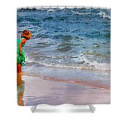 Girl With Pail Shower Curtain