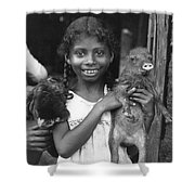 Girl With Pet Peccary Shower Curtain