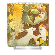 Girl With Rabbits Shower Curtain