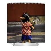 Girl With Toy Dog Shower Curtain