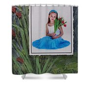 Girl With Tulips Shower Curtain by Anita Burgermeister