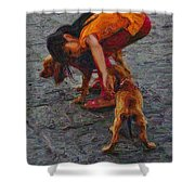 Girl With Two Dogs Shower Curtain