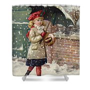 Girl With Umbrella In A Snow Shower Shower Curtain