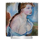 Girl With With Daisies Renoir Shower Curtain