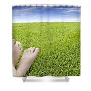 Girls Feet On Grass With Flowers Shower Curtain