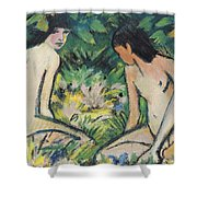Girls In The Open Air Shower Curtain by Otto Mueller or Muller