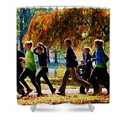 Girls Jogging On An Autumn Day Shower Curtain