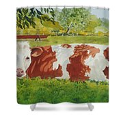 Give Me Moooore Shade Shower Curtain by Mary Ellen Mueller Legault