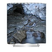 Glacial Creek Flowing From Blue Ice Shower Curtain