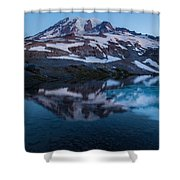 Glacial Rainier Morning Reflection Shower Curtain