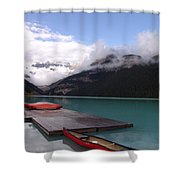 Victoria Glacier Canoe, Lake Louise, Alberta Shower Curtain