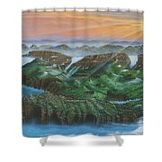 Glacier Castle Ruins Shower Curtain