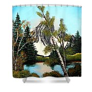 Glacier Peak After Bob Ross Shower Curtain by Barbara Griffin