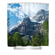 Glacier Seen From Kicking Horse Campground In Yoho Np-bc Shower Curtain