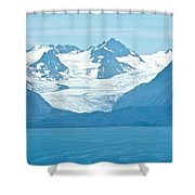 Glaciers In Kenai Range Over Kachemak Bay In Homer-ak- Shower Curtain