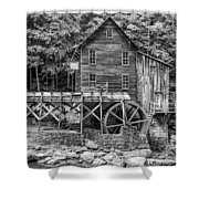 Glade Creek Grist Mill Bw Shower Curtain
