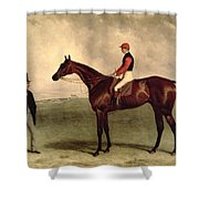 Gladiateur With Harry Grimshaw Up And His Owner Count Frederic De Lagrange Shower Curtain by Harry Hall