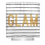 Glam Pinstripe Gold Shower Curtain