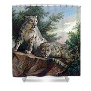 Glamorous Friendship- Snow Leopards Shower Curtain
