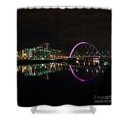 Glasgow Clyde Arc Bridge At Night Shower Curtain