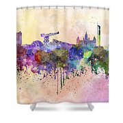 Glasgow Skyline In Watercolor Background Shower Curtain