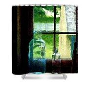 Glass Bottles On Windowsill Shower Curtain