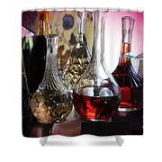 Glass Decanters And Glasses Shower Curtain