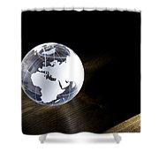 Glass Globe On Wooden Floor Shower Curtain