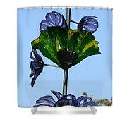 Glass Hollyhocks Shower Curtain