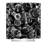Glass Knobs - Bw Shower Curtain