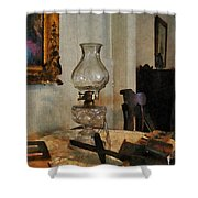 Glass Lamp And Stereopticon Shower Curtain