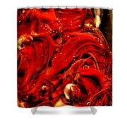 Glass Macro Abstract Crimson Swirls Shower Curtain