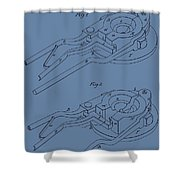 Glass Mold Patent On Blue Shower Curtain