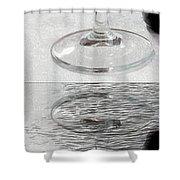 Glass Of Wine Painterly Mirrored Shower Curtain